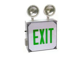 Wet Location Combo Green LED Emergency Exit Sign with Battery Back-up