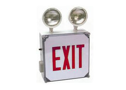 Red LED Wet Location Exit Sign With Emergency Lights -  Battery Back-up