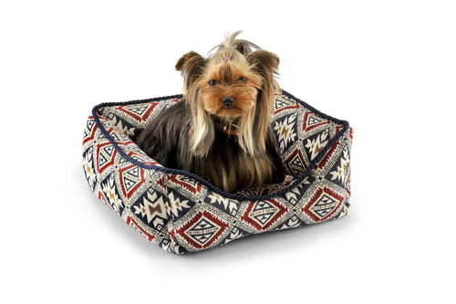 Boho Squared Bed-Bed-Biozoo-Red & Blue-S-Biozoopets