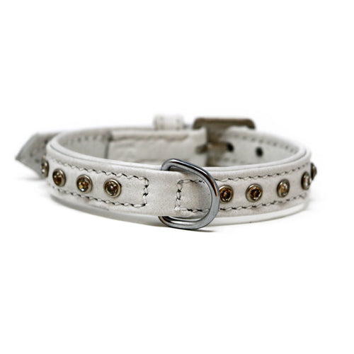 Diamonds Leather Collar-Collar-Biozoo-White-25 x 1,5 cm-Biozoopets