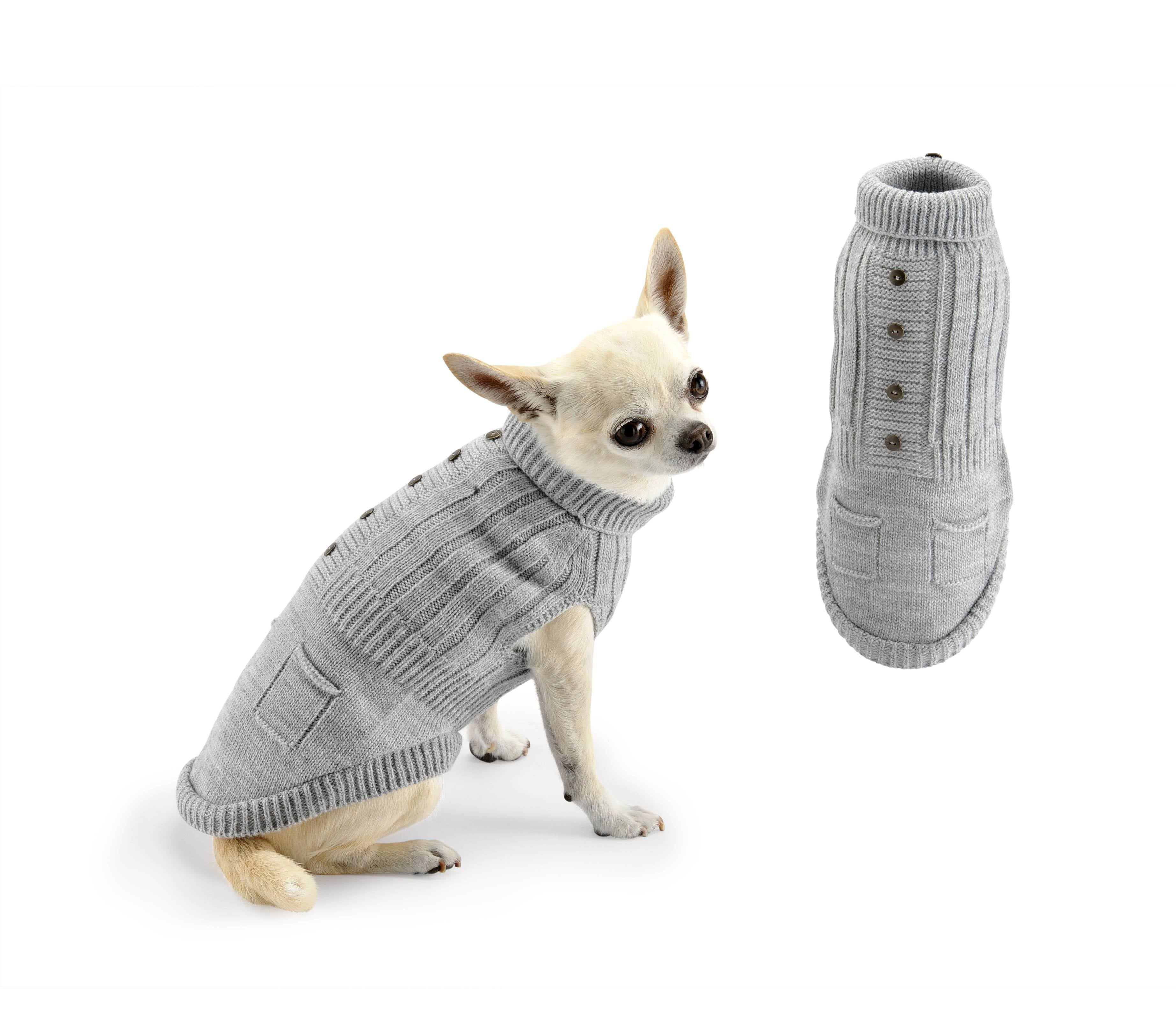Jumper buttons and pockets-Sweaters-Biozoo-Grey-20-Biozoopets