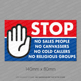 No Cold Callers - No Sales People Sticker - Sticker - OBSESSO - www.obsesso.co.uk