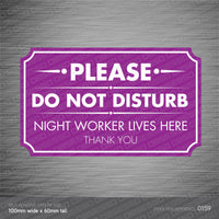 Please Do Not Disturb - Night Worker Front Door Sticker - Sticker - OBSESSO - www.obsesso.co.uk