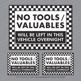 3 x No Tools Valuables Left In This Vehicle Overnight Stickers - Sticker - OBSESSO - www.obsesso.co.uk