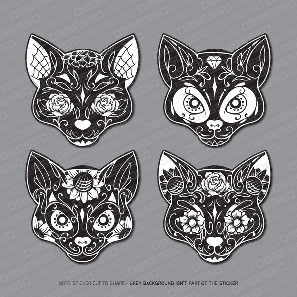 4 x Day Of The Dead - Flower Cat Skull Stickers - Sticker - OBSESSO - www.obsesso.co.uk