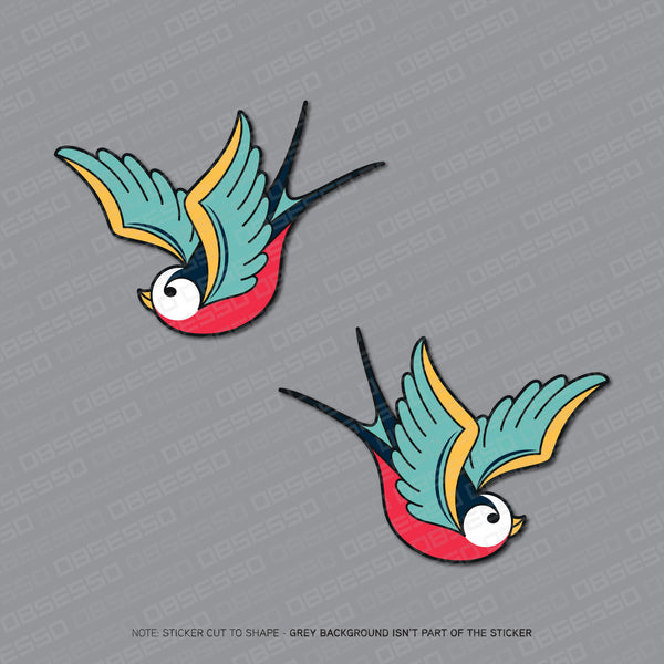 2 x Swallows Bird Stickers - Sticker - OBSESSO - www.obsesso.co.uk