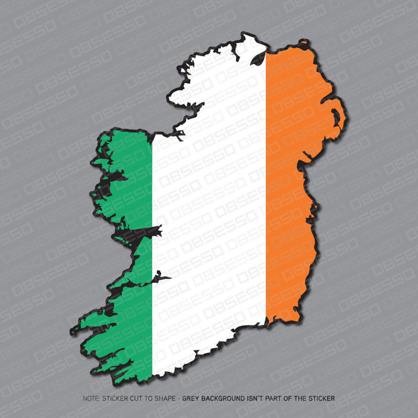 Ireland - Irish Map Flag Sticker - Sticker - OBSESSO - www.obsesso.co.uk