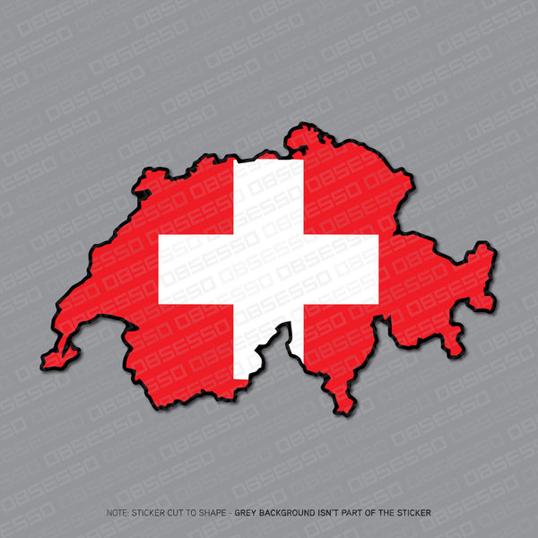 Switzerland - Swiss Map Flag Sticker - Sticker - OBSESSO - www.obsesso.co.uk