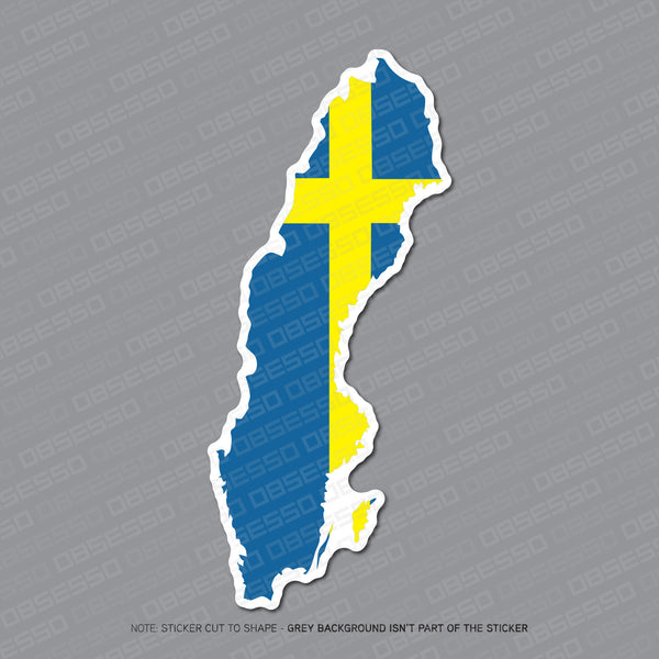 Sweden - Swedish Map Flag Sticker - Sticker - OBSESSO - www.obsesso.co.uk