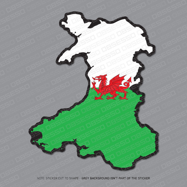 Wales - Welsh Map Flag Sticker - Sticker - OBSESSO - www.obsesso.co.uk