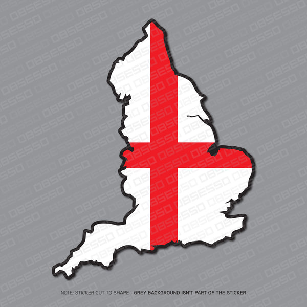 England - English Map Flag Sticker - Sticker - OBSESSO - www.obsesso.co.uk