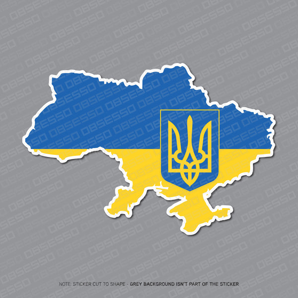 Ukraine - Ukrainian Map Flag Sticker - Sticker - OBSESSO - www.obsesso.co.uk