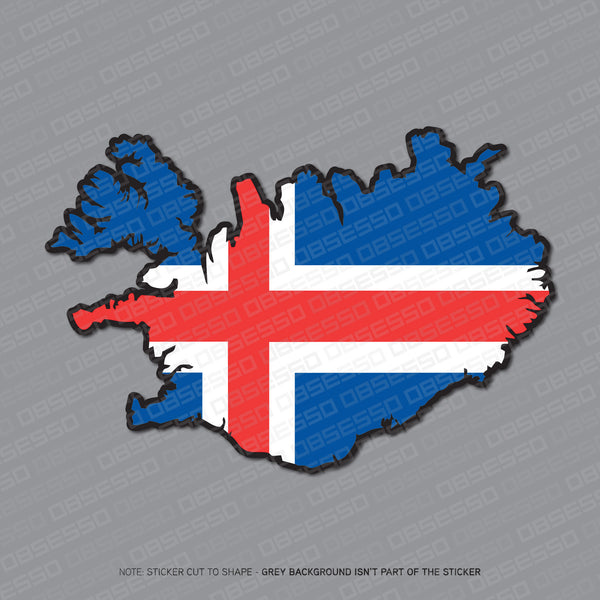 Iceland - Icelandic Map Flag Sticker - Sticker - OBSESSO - www.obsesso.co.uk