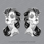 2 x Day Of The Dead - Flower Girl Stickers - Handed - Sticker - OBSESSO - www.obsesso.co.uk