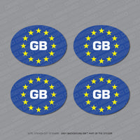 4 x GB Euro Oval Stickers - 75mm x 55mm - Blue - Sticker - OBSESSO - www.obsesso.co.uk