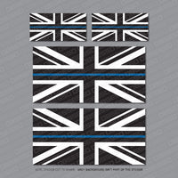 Thin Blue Line Union Jack Flag Stickers - Black, White & Blue -  - OBSESSO - www.obsesso.co.uk