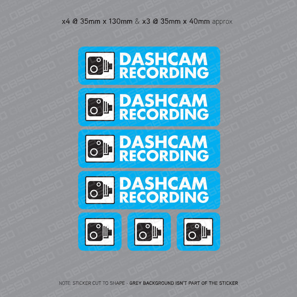 7 x Dash Camera Stickers - Sticker - OBSESSO - www.obsesso.co.uk