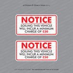 Soiling This Vehicle £50 Charge - Taxi Sticker - Sticker - OBSESSO - www.obsesso.co.uk