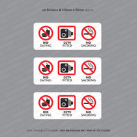 No Eating - CCTV Fitted - No Smoking - Taxi Sticker - Sticker - OBSESSO - www.obsesso.co.uk