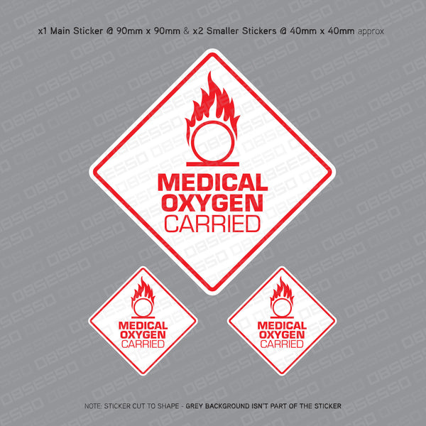 Medical Oxygen Carried - Taxi Sticker - Sticker - OBSESSO - www.obsesso.co.uk