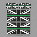 Thin Blue/Red/Green Line Union Jack Flag Vinyl Stickers - Stickers - OBSESSO - www.obsesso.co.uk