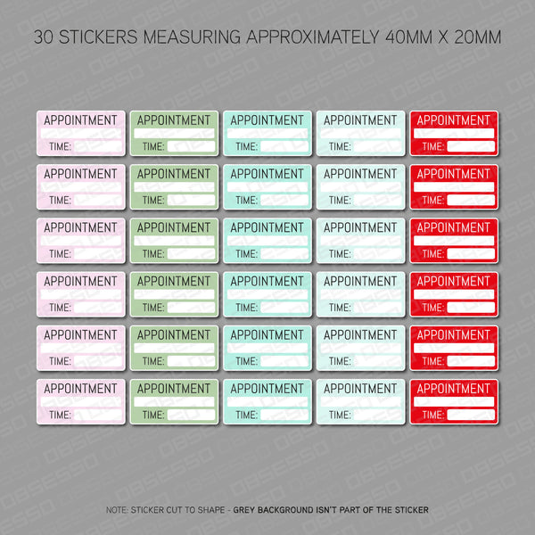 Appointment Planner Diary Scrapbooking Stickers - Set Of 30 - Stickers - OBSESSO - www.obsesso.co.uk