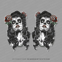 Day Of The Dead Sticker - Girl - Calavera - Stickers - OBSESSO - www.obsesso.co.uk