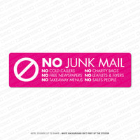 No Junk Mail / No Cold Callers Sticker