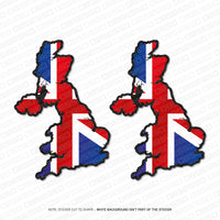 2 x England UK Britain Union Jack Map Flag Sticker - Sticker - OBSESSO - www.obsesso.co.uk