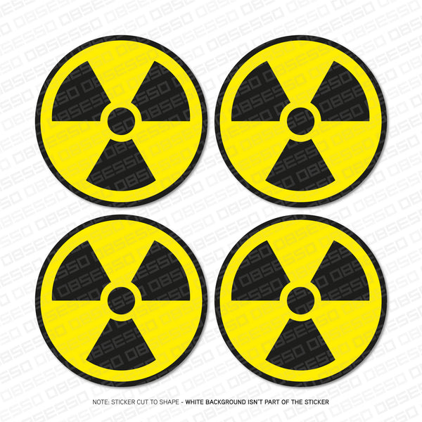 4 x Radioactive Radiation Nuclear Safety Vinyl Stickers -  - OBSESSO - www.obsesso.co.uk