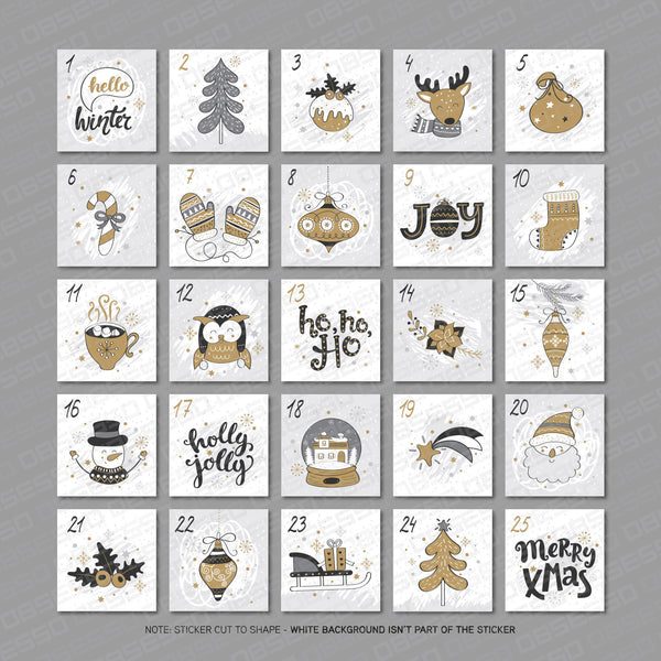 Christmas Advent Calendar Numbers 1 - 25 - Self Adhesive Vinyl Stickers - Stickers - OBSESSO - www.obsesso.co.uk