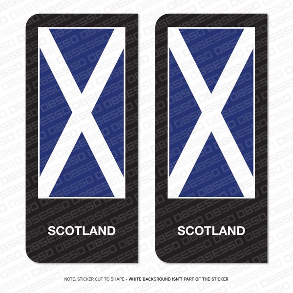 2 x Saltire Scottish Scotch Flag Vinyl Stickers Number Plate Brexit