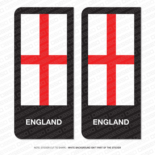 2 x George Cross English Flag Vinyl Stickers Number Plate Brexit