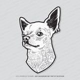 Tattooed Chihuahua Head Gang Tats Dog Vinyl Sticker
