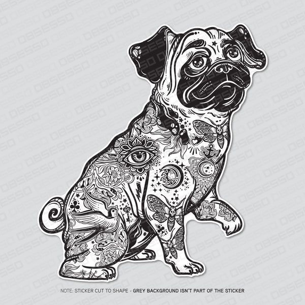 Tattooed Pug - Gang Tats Dog Vinyl Sticker