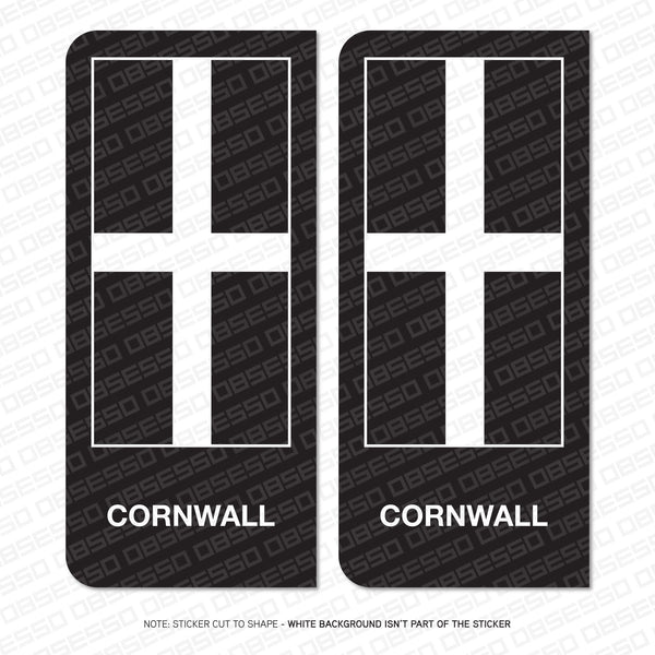 2 x Cornish Cornwall Flag Vinyl Stickers Number Plate Brexit