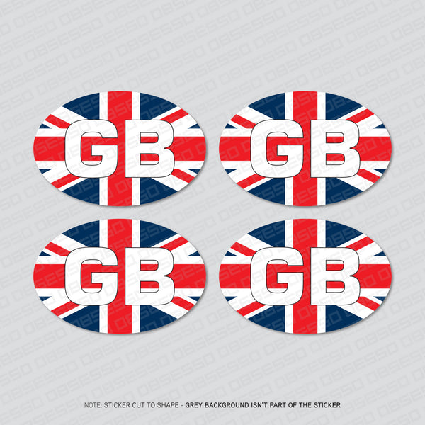 4 x GB Oval Union Jack Euro Stickers -  - OBSESSO - www.obsesso.co.uk