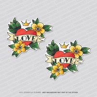 2 x Love Heart Flowers Tattoo Style Vinyl Stickers