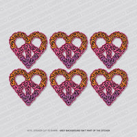 6 x Love Heart Tribal Tattoo Style Vinyl Stickers