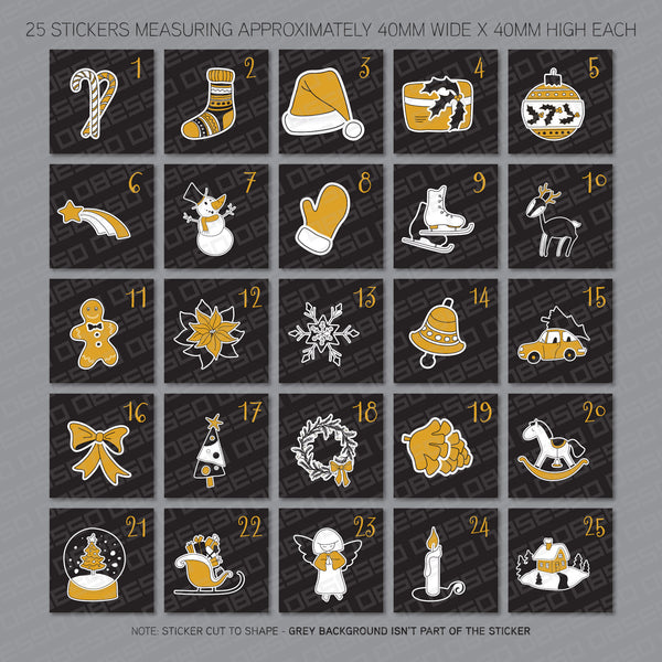 Christmas Advent Calendar Numbers 1 - 25 - Self Adhesive Vinyl Stickers