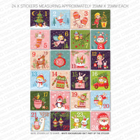 Christmas Advent Calendar Numbers 1 - 24 - Self Adhesive Vinyl Stickers