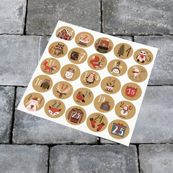 25 x Advent Calendar Stickers - Christmas Countdown Vinyl Decals