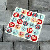 Christmas Countdown Advent Calendar Stickers - Sleeps Till Christmas Labels