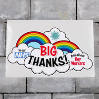 Rainbow Window Sticker Big Thank You Our NHS And Key Workers