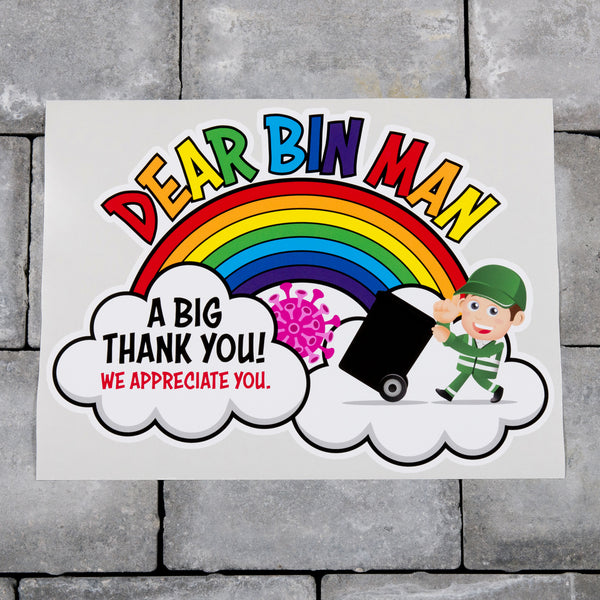 Thank You Bin Man Wheelie Bin Sticker Key Workers Rainbow Refuse Collectors