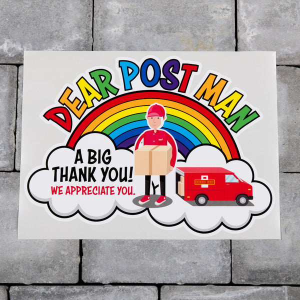 Thank You Post Man Postie Sticker - Key Workers Rainbow Delivery Workers