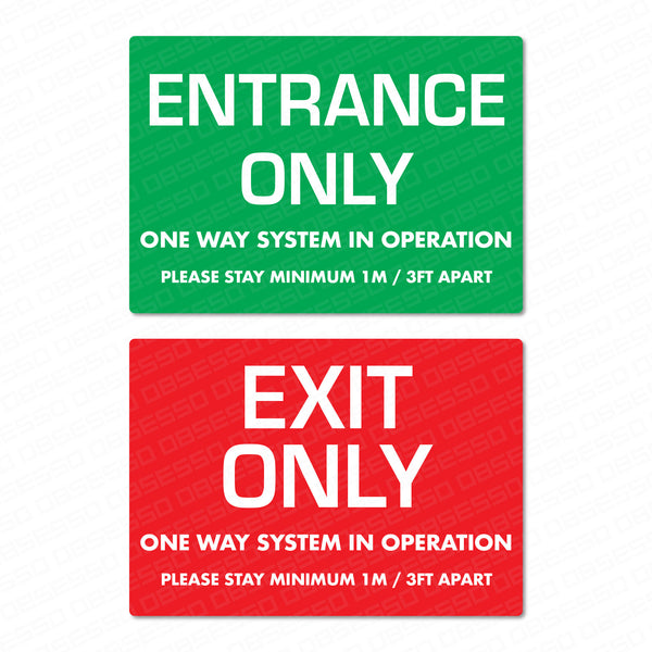 Exit Only / Entrance Only One Way System Sticker - 1m Or 2m
