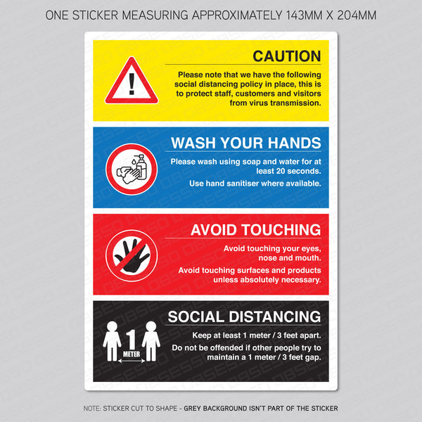 Social distancing measures sticker 1m or 2m
