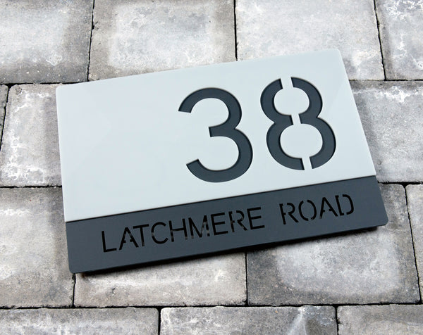 House Number Door Sign - Rectangle - 300mm Wide 200mm Tall x 6mm Deep - Bespoke Laser Cut