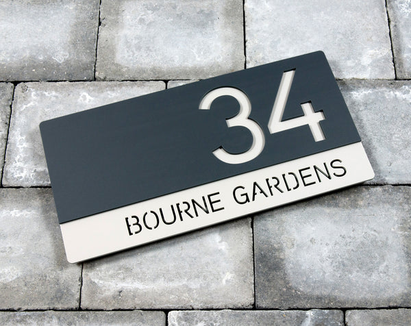 House Number Door Sign - Rectangle - 300mm Wide 150mm Tall x 6mm Deep - Bespoke Laser Cut
